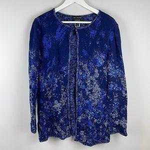 St. John blue patterned cardigan size 8